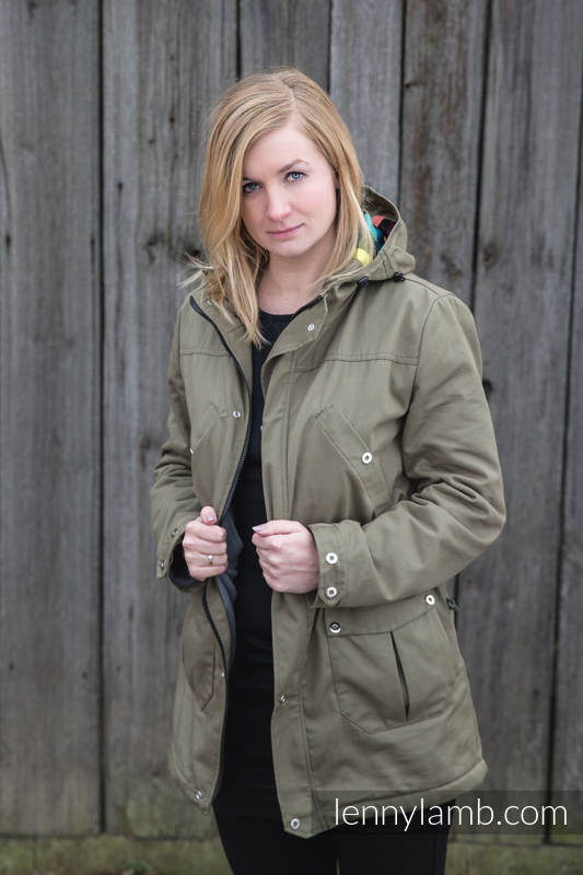 Parka Babywearing Coat - size L -  Khaki & Customized Finishing #babywearing