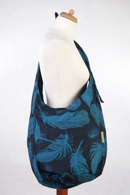 Hobo Bag made of woven fabric, 100% cotton - FEATHERS TURQUOISE ...