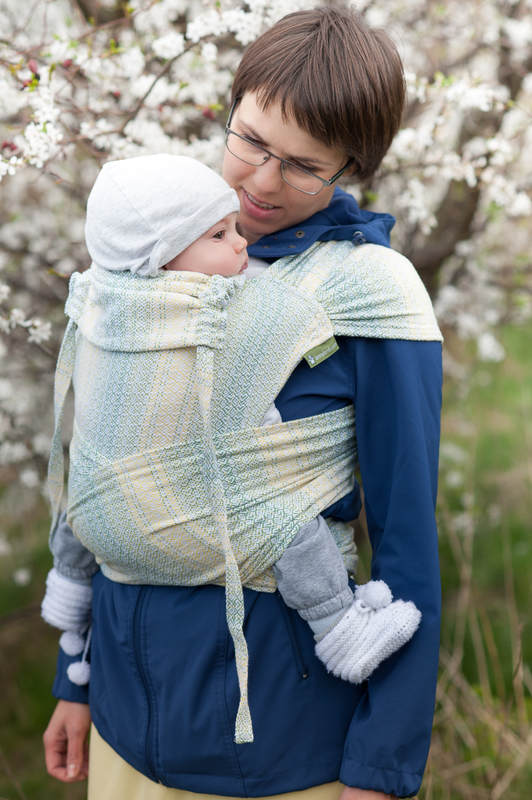 WRAP-TAI carrier Toddler with hood/ jacquard twill / 100% cotton / LITTLE LOVE - GOLDEN TULIP #babywearing