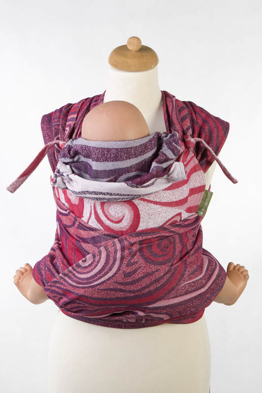 WRAP-TAI carrier Mini with hood/ jacquard twill / 100% cotton / MAROON WAVES (grade B) #babywearing