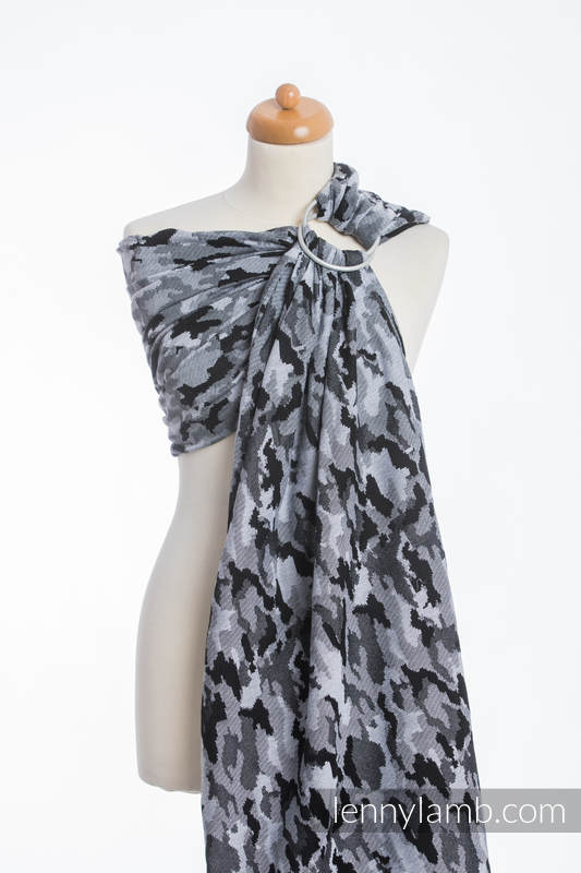 Ringsling, Jacquard Weave (100% cotton) - with gathered shoulder - GREY CAMO (grade B) #babywearing