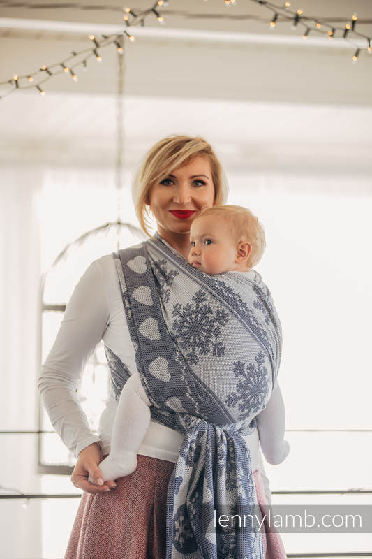 Baby Wrap, Jacquard Weave (80% cotton, 20% merino wool) - WARM HEARTS NAVY BLUE & WHITE - size XL #babywearing