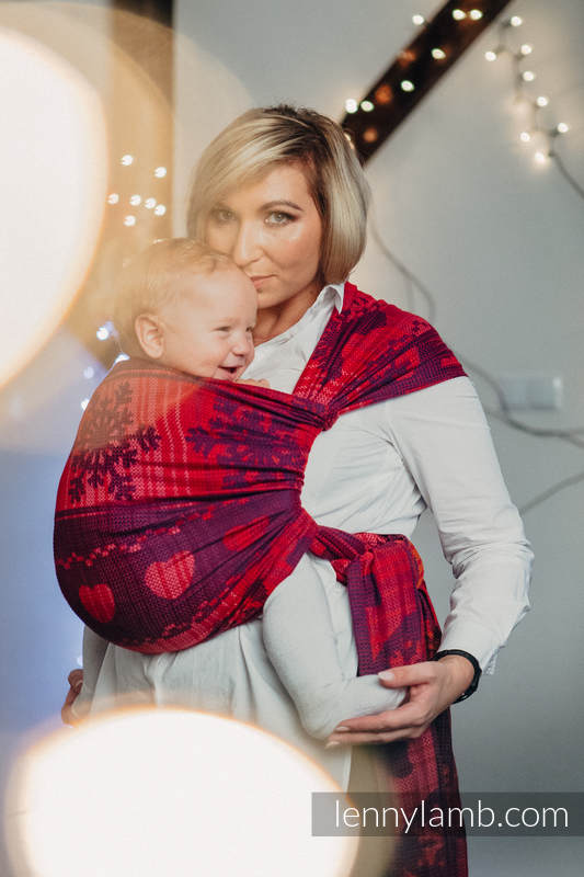 Baby Wrap, Jacquard Weave (100% cotton) - WARM HEARTS WITH CINNAMON  - size M #babywearing