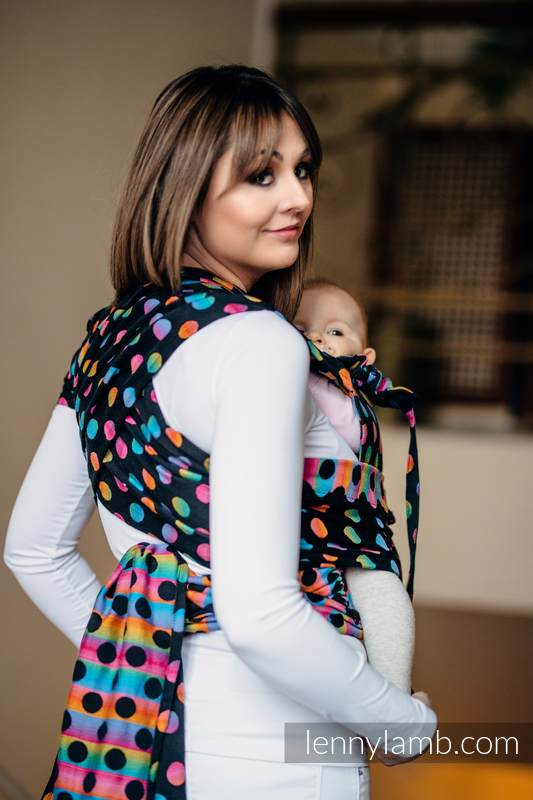 WRAP-TAI carrier Toddler with hood/ jacquard twill / 100% cotton / POLKA DOTS RAINBOW DARK  #babywearing