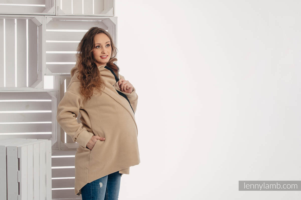 Asymmetrical Fleece Hoodie for Women - size XL - Cafe Latte (grade B) #babywearing