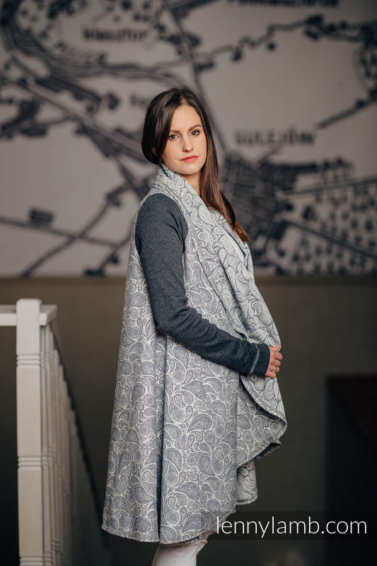 Long Cardigan - plus size - Paisley Navy Blue & Cream #babywearing