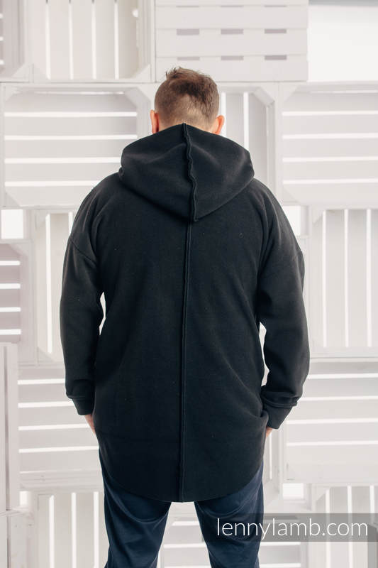 Asymmetrical Fleece Hoodie for Men - size M - Black (grade B) #babywearing