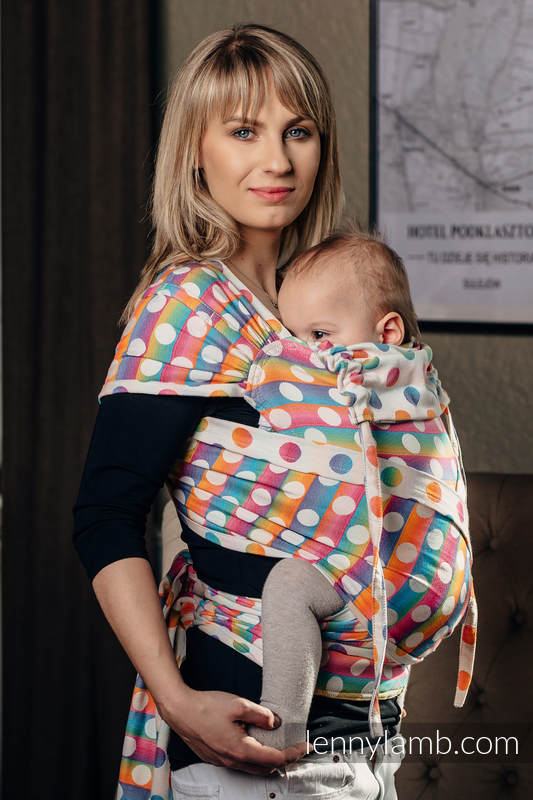 WRAP-TAI carrier Toddler with hood/ jacquard twill / 100% cotton / POLKA DOTS RAINBOW  #babywearing
