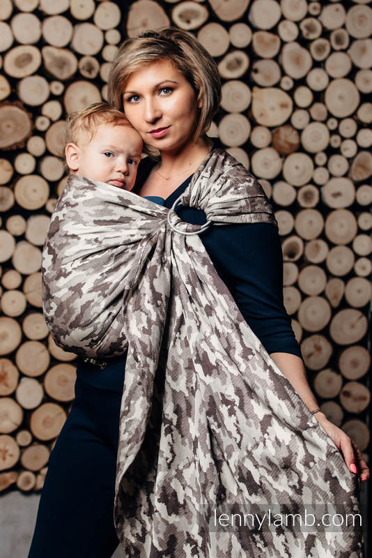 Ringsling, Jacquard Weave (100% cotton) - with gathered shoulder - BEIGE CAMO #babywearing