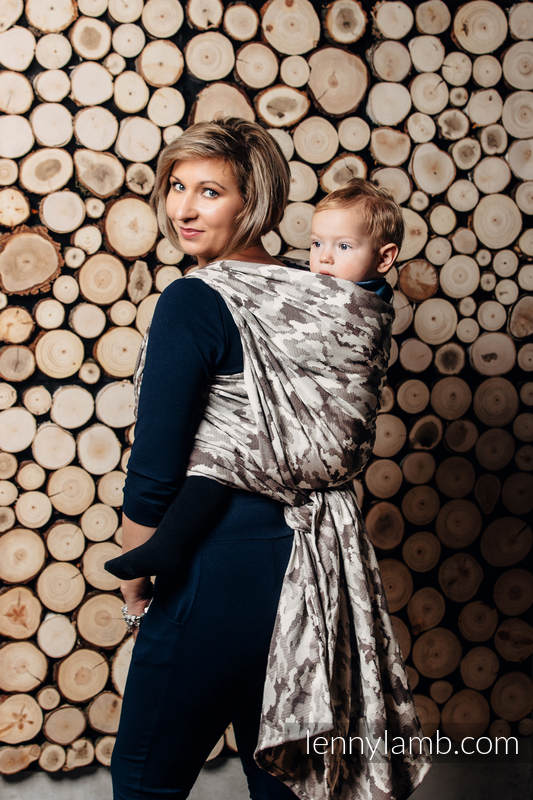 Baby Wrap, Jacquard Weave (100% cotton) - BEIGE CAMO - size S #babywearing