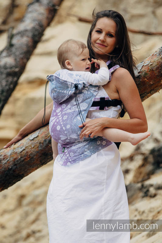 Ergonomic Carrier, Baby Size, jacquard weave 60% cotton 40% linen - wrap conversion from DRAGONFLY LAVENDER, Second Generation #babywearing