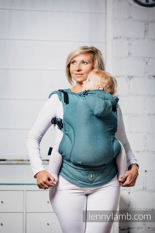 Basic Line Ergonomic Carrier - AMAZONITE, Toddler Size, herringbone weave 100% cotton - Second Generation #babywearing