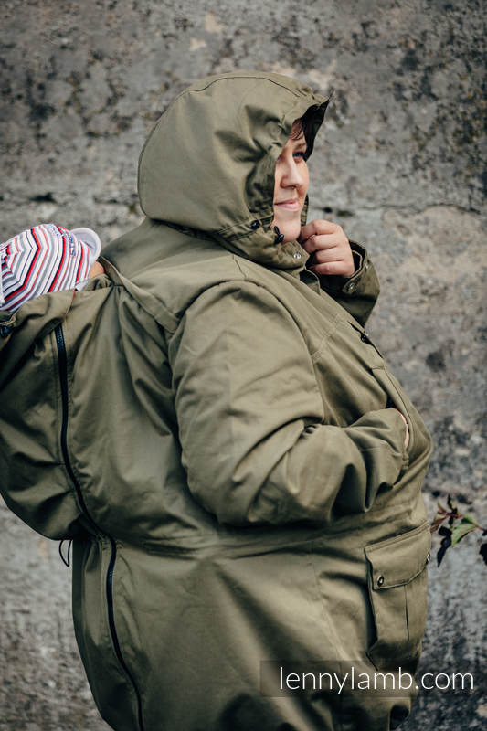 Parka Babywearing Coat - size 6XL -  Khaki & Customized Finishing #babywearing