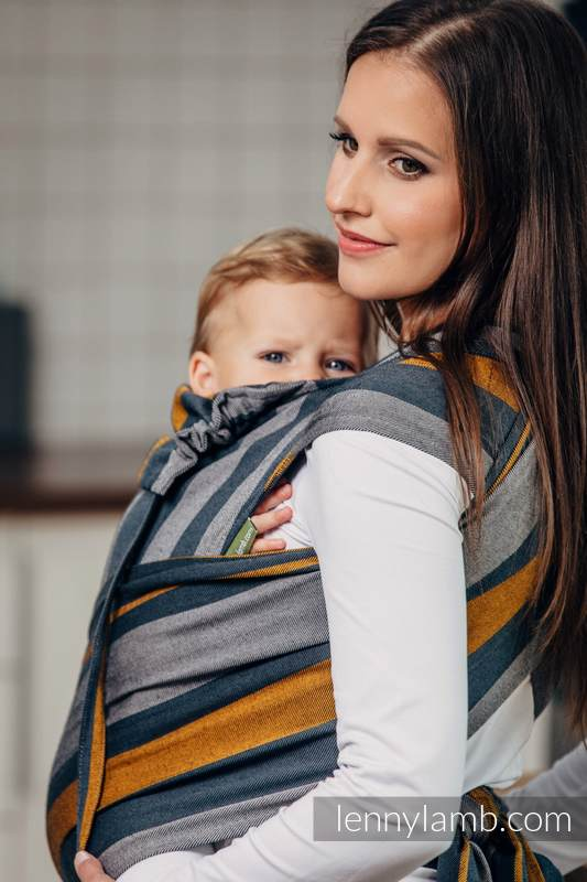 WRAP-TAI carrier Mini, broken-twill weave - 100% cotton - with hood, SMOKY - HONEY #babywearing