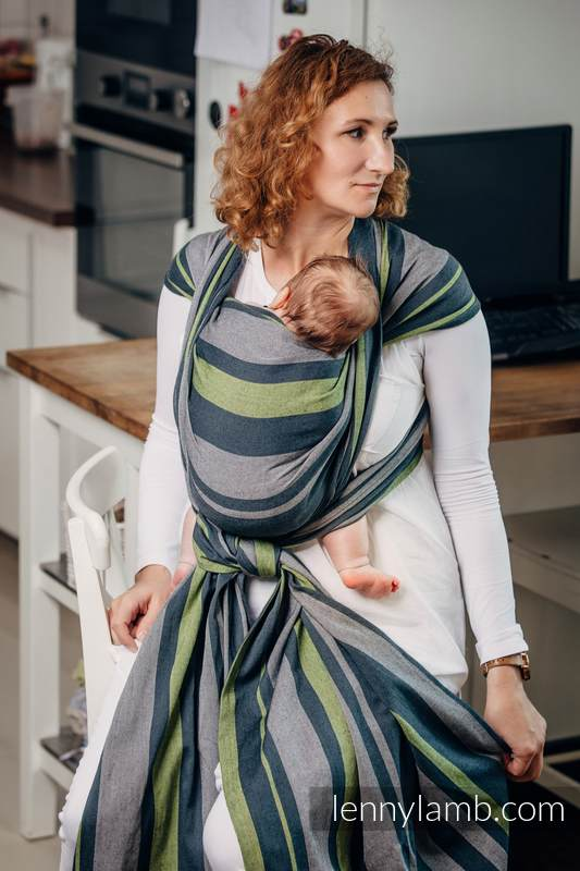 Baby Sling, Broken Twill Weave, 100% cotton,  SMOKY - LIME - size XL (grade B) #babywearing