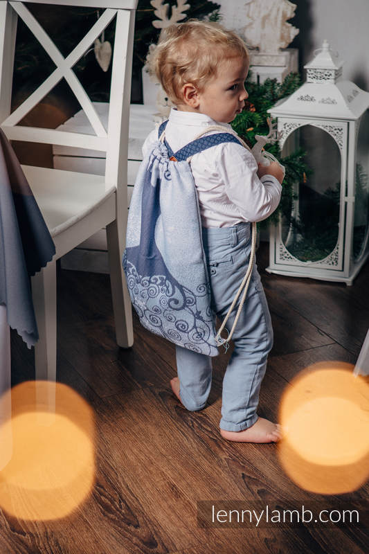 Sackpack made of wrap fabric (100% cotton) - WINTER PRINCESSA - standard size 32cmx43cm #babywearing