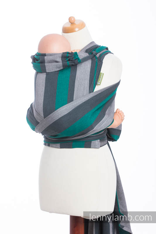 WRAP-TAI carrier Mini, broken-twill weave - 100% cotton - with hood, SMOKY - MINT  #babywearing