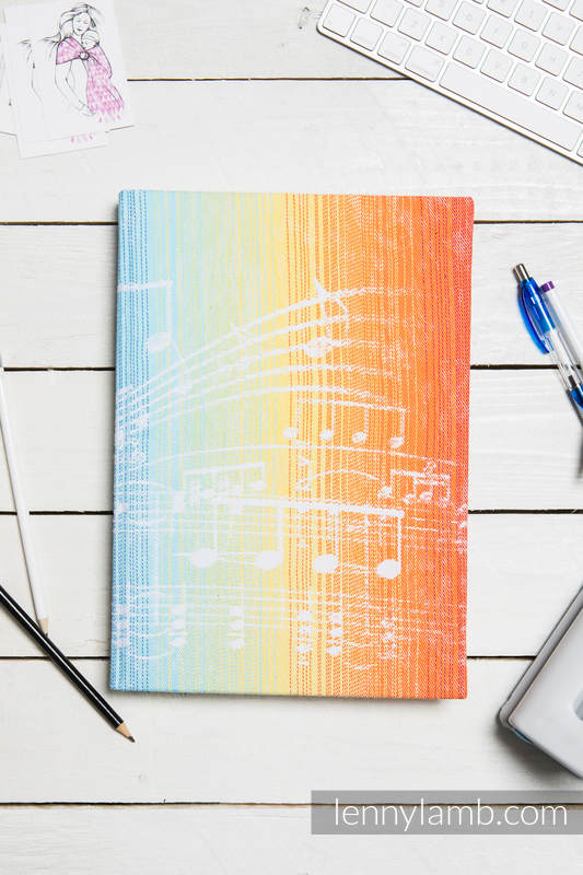 Calendar 2018 with jacquard fabric hard cover - size A4 - SYMPHONY RAINBOW LIGHT #babywearing