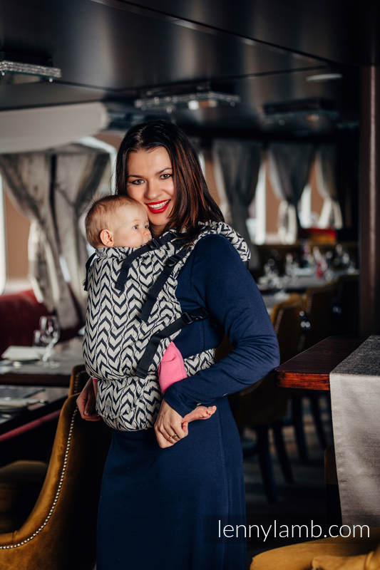 Ergonomic Carrier, Baby Size, jacquard weave 44% combed cotton, 56% Merino wool - wrap conversion from CHAIN OF LOVE , Second Generation #babywearing