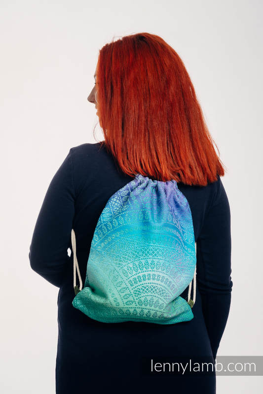Sackpack made of wrap fabric (100% cotton) - PEACOCK'S TAIL - FANTASY - standard size 32cmx43cm #babywearing