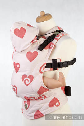 Ergonomic Carrier, Baby Size, jacquard weave 100% cotton - wrap conversion SWEETHEART CORAL & CREME, Reverse - Second Generation