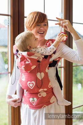 Ergonomic Carrier, Baby Size, jacquard weave 100% cotton - wrap conversion SWEETHEART CORAL & CREME - Second Generation