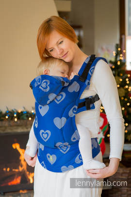 Ergonomic Carrier, Baby Size, jacquard weave 100% cotton - wrap conversion SWEETHEART BLUE & GRAY - Second Generation