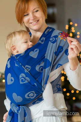 Baby Wrap, Jacquard Weave (100% cotton) - SWEETHEART BLUE & GRAY - size XS