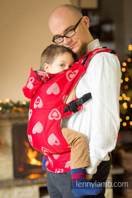 Ergonomic Carrier, Toddler Size, jacquard weave 100% cotton - wrap conversion SWEETHEART RED & GRAY - Second Generation