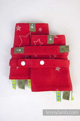 Drool Pads & Reach Straps Set, (100% cotton) - STARS RED & GRAY