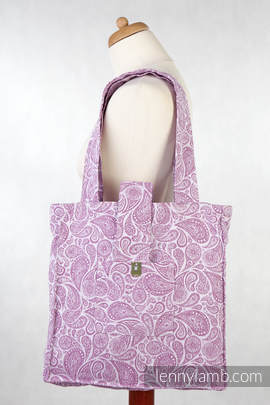 Shoulder bag made of wrap fabric (100% cotton) - PAISLEY PURPLE & CREAM - standard size 37cmx37cm