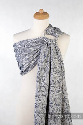 Ringsling, Jacquard Weave (100% cotton), with gathered shoulder - Paisley Navy Blue & Cream
