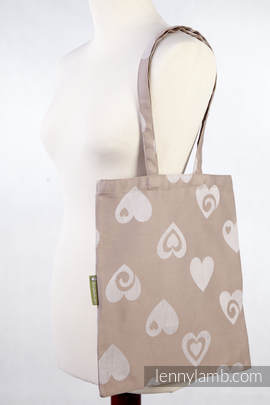 Shopping bag made of wrap fabric (84% cotton, 16% linen) - SWEETHEART - standard size 33cmx39cm