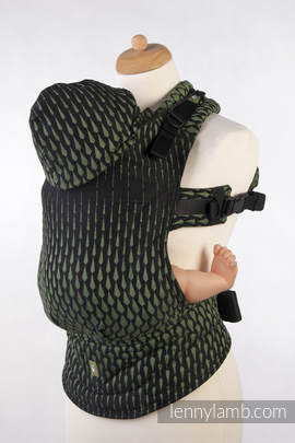 Ergonomic Carrier, Toddler Size, jacquard weave 100% cotton - wrap conversion from ICICLES GREEN & BLACK, Second Generation (grade B)