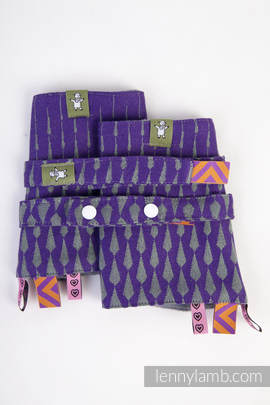 Drool Pads & Reach Straps Set, (100% cotton) - ICICLES PURPLE & GREEN