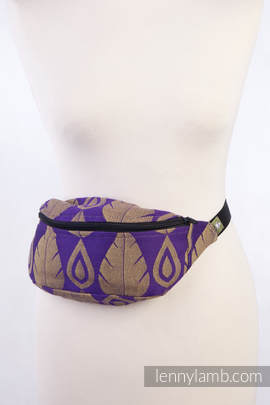 Waist Bag made of woven fabric, (100% cotton) - NORTHERN LEAVES PURPLE & YELLOW