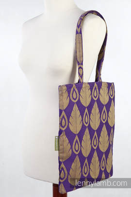 Shopping bag made of wrap fabric (100% cotton) - NORTHERN LEAVES PURPLE & YELLOW - standard size 33cmx39cm