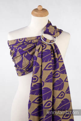Ringsling, Jacquard Weave (100% cotton) - NORTHERN LEAVES PURPLE & YELLOW