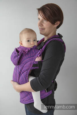Ergonomic Carrier, Baby Size, jacquard weave 100% cotton - wrap conversion from PEACOCK'S TAIL PURPLE & PINK, Second Generation