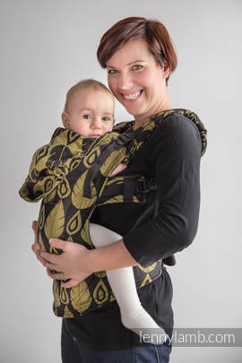 Ergonomic Carrier, Baby Size, jacquard weave 100% cotton - wrap conversion from NORTHERN LEAVES BLACK & YELLOW, Second Generation