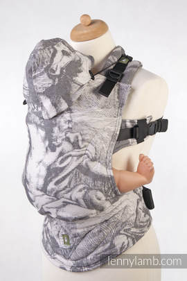 Ergonomic Carrier, Toddler Size, jacquard weave 100% cotton - wrap conversion from POSEIDON (with Poseidon on the panel)