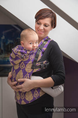 Ergonomic Carrier, Baby Size, jacquard weave 100% cotton - wrap conversion from NORTHERN LEAVES PURPLE & YELLOW, Second Generation