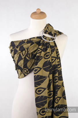 Ringsling, Jacquard Weave (100% cotton) - NORTHERN LEAVES BLACK & YELLOW