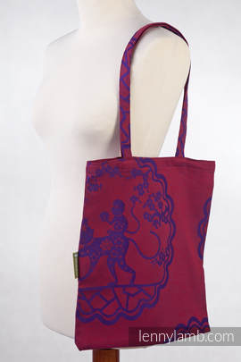Shopping bag made of wrap fabric (100% cotton) - MICO RED & PURPLE