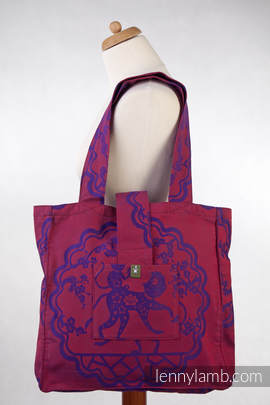 Shoulder bag made of wrap fabric (100% cotton) - MICO RED & PURPLE - standard size 37cmx37cm