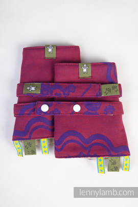 Drool Pads & Reach Straps Set, (100% cotton) - MICO RED & PURPLE
