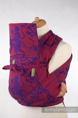 MEI-TAI carrier Toddler, jacquard weave - 100% cotton - with hood, MICO RED & PURPLE