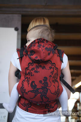 Ergonomic Carrier, Toddler Size, jacquard weave 100% cotton - wrap conversion from MICO RED & BLACK, Second Generation