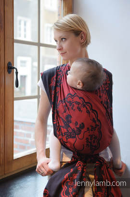 Baby Wrap, Jacquard Weave (100% cotton) - MICO RED & BLACK - size M (grade B)