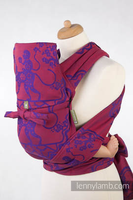 MEI-TAI carrier Mini, jacquard weave - 100% cotton - with hood, MICO RED & PURPLE